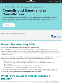Councils and Emergencies Project consultation documents